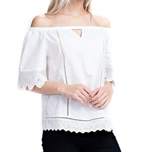 SOLITAIRE White Textured Lace Off Shoulder Top